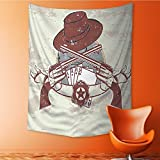 AmaPark Tapestry Wall Hanging Western Insignia and Banner with Two Guns Hat Pistols Poker Home Decorations for Bedroom Dorm 40W x 60L Inch