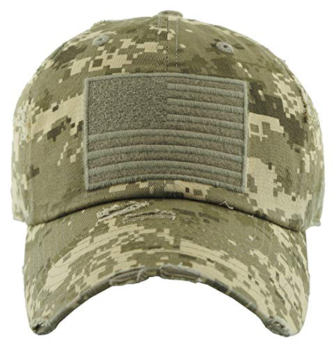 H-212-AF-D-84 Distressed Baseball Cap - American Flag, Digital Camo