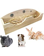 Hamiledyi Rabbit Hay Feeder, Bunny Food Manger Wooden Hay Manger Rack Grass Holder for Guinea Pig Chinchilla Hamster