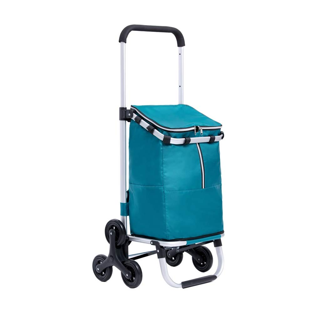 ZA Staircase shopping cart, drawbar, telescopic three-speed adjustment, aluminum folding shopping cart, durable, easy to carry, no rust, Oxford cloth shopping bag, waterproof, wearable, 3 colors optio