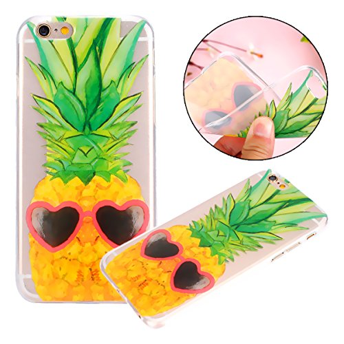 Custodia iPhone 6, Cover iPhone 6S, TPU Silicone Cover Custodia per iPhone 6 / 6S 4.7 Apple, Surakey Cellulari Accessori TPU Case Ultra Sottile iPhone 6 Cover Trasparente Campanula Farfalla Teschio Co Ananas