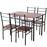 Kitchen Table for 4 Merax 5 Pcs Wood and Metal Dining Set Table and 4 Chairs Home Kitchen Modern FurniturexFF08;EspressoxFF09;