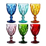 Colored Glass Drinkware 9.5 Ounce Water Glasses