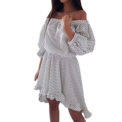 - One-Shoulder Mini Dress, Women Sexy Polka Dot Print Sundress Off Shoulder Puff Sleeve Ruffled Knee Dress Puff Sleeve Strapless Polka Dot Print Dress