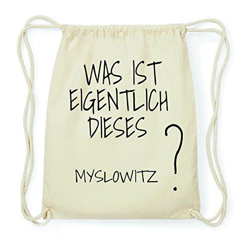 JOllify MYSLOWITZ Hipster Turnbeutel Tasche Rucksack aus Baumwolle - Farbe: natur Design: Was ist eigentlich