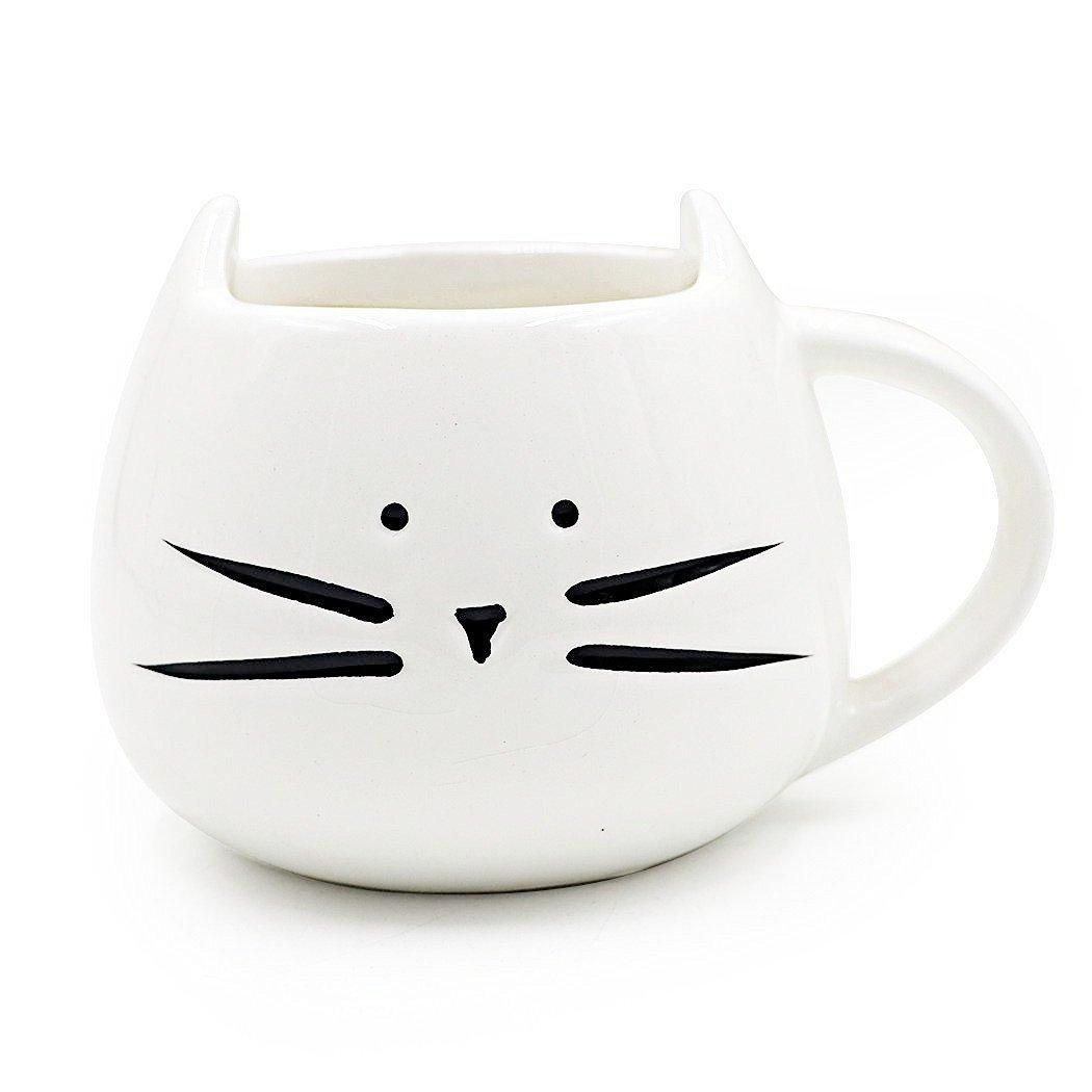 EchoAcc® Lovely Animal Cat Ceramic Porcelain Cute Cup Mug for Coffee/Tea/Espresso/Milk/Water (White)