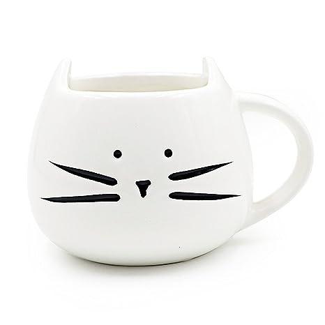 Blanco y Negro Gato Taza Creativa Taza Mug Tazón Copas de Cerámica para Café, Leche