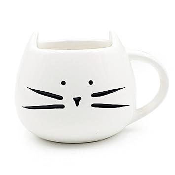 XLKJ Taza de Cerámica con Linda Forma de Gato para Café, Leche, Agua, Té ect, Blanco: Amazon.es: Electrónica