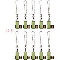 FEBNISCTE Mini Metal Swivel Green 2GB USB 2.0 Flash Drive - Bulk Pack of 100