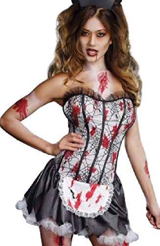 harrowandsmith Damen Zombie French Maid Sexy Halloween-Kostüm French Maid Scary Outfit Fancy Kleid t8630, UK 8–10