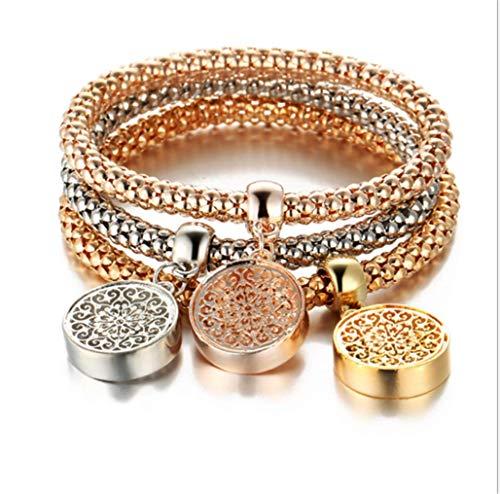 Crystal Diamond Pendant Popcorn Bracelet Crown Stretch Corn Chain Tricolor Bracelet,Tree