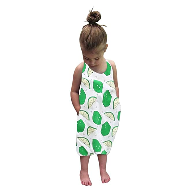 d921e2b4a Cuekondy Infant Toddler Baby Girls Kids Lemon Fruit Print Strap Rompers  Jumpsuit Summer One Piece Pants