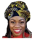 Black, yellow African Print Ankara Modu Hat Pre-tied Head wrap