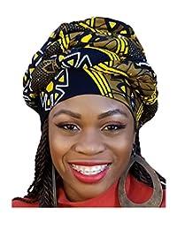 Black, yellow African Print Ankara Modu Hat Pre-tied Head wrap