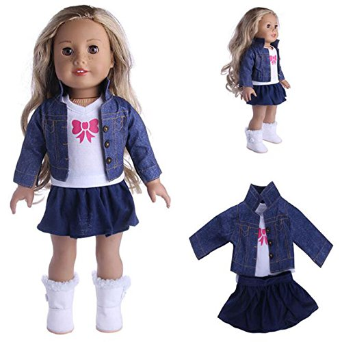 Toogoo 3Pcs/t American Girl Doll Clothes t Winter Coat Dress + Legging For 18 Inch Doll Suit t Fit 43cm Baby Born Zapf Dolls cowboy coat 3pcs