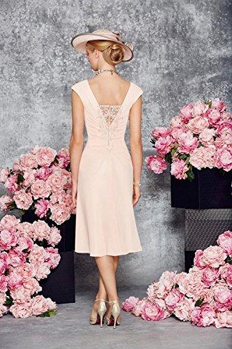 Robe pour perle de Mousseline Robe Crmonie avec la en Longueur de Mre Mariage Rose Marie Genou Femme Dressvip Veste FtBUqwgH55