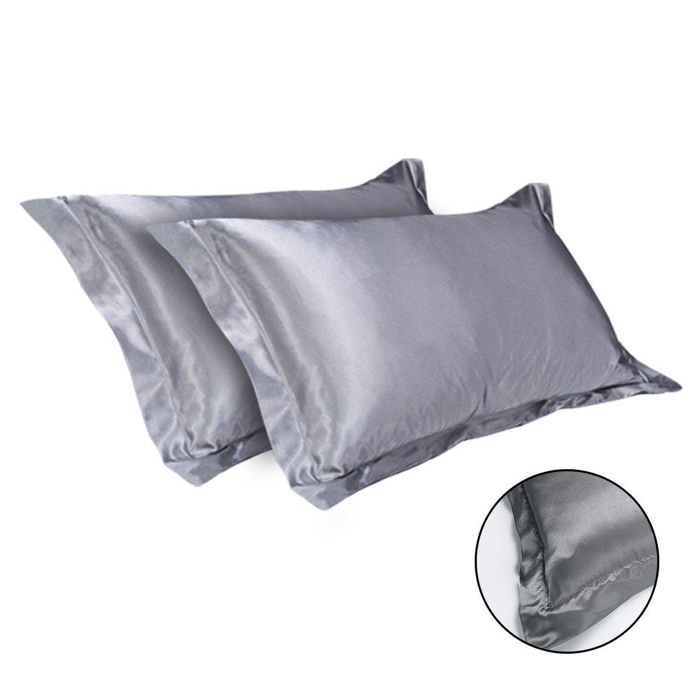 bianco seebesteu Coppia Federe Seta Raso Satin Silk Fodere Guanciale Antiacari Anallergico per Cura di Pelle Capelli 54 x 84cm Tinta Unita