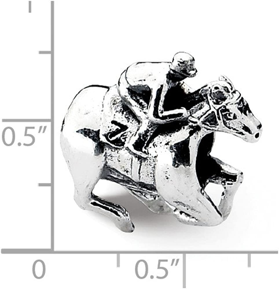 Bead Charm White Sterling Silver Themed 11.82 mm 12.73 Reflections Race Horse