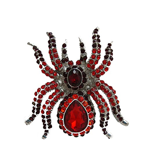 TTjewelry Classic Vintage Spider Brooch Pin Rhinestone Crystal Halloween Jewelry (Red)