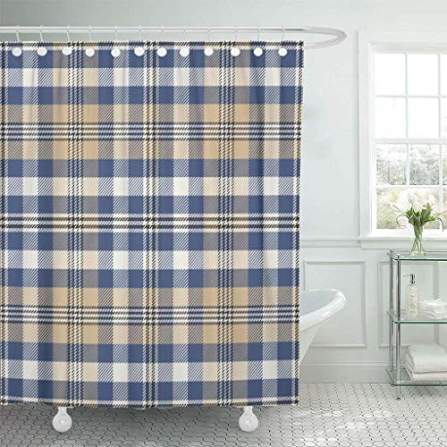 Emvency Fabric Shower Curtain with Hooks Blue Check Pattern Plaid Yellow Classic Gingham Madras Preppy Swatches Tartan 60