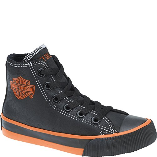 Harley-Davidson Kid's Patch Casual Sneakers, Black Canvas, 4 Big Kid M