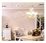 G-real 1 Strand Glass Beads Hanging Strand, Beauty String Tassel Curtain Room Divider Crystal Beads Curtains Door Window Panel (Clear)
