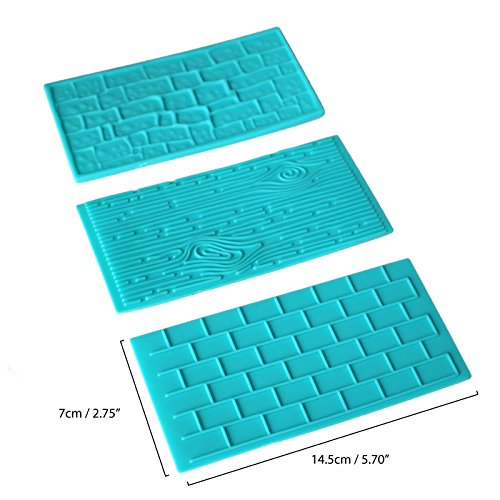 4pc Plastic Embossed Icing Moulds Kits by Kurtzy - Brick, Wood, Cobble and Pebble Stone Designs for Chocolate and Icing - Easy to clean - Perfect for Cake Edging,Cupcakes and Biscuits - Mould Sheets by Kurtzy (Image #1)