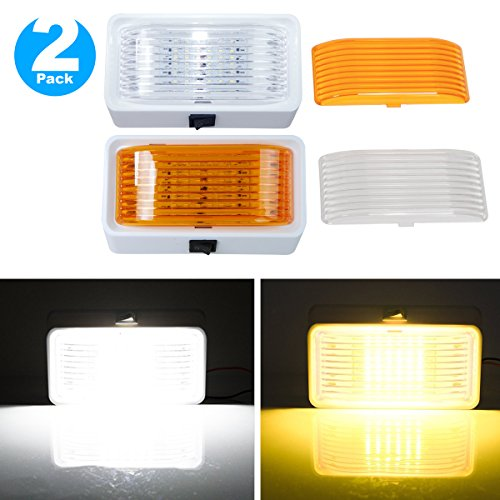 2 Pack LED RV Exterior Porch Utility Light with Switch - 12v 280 Lumen Lighting Fixture. Replacement Lighting for RVs, Trailers, Campers, 5th Wheels. White Base, Clear and Amber Lenses Included