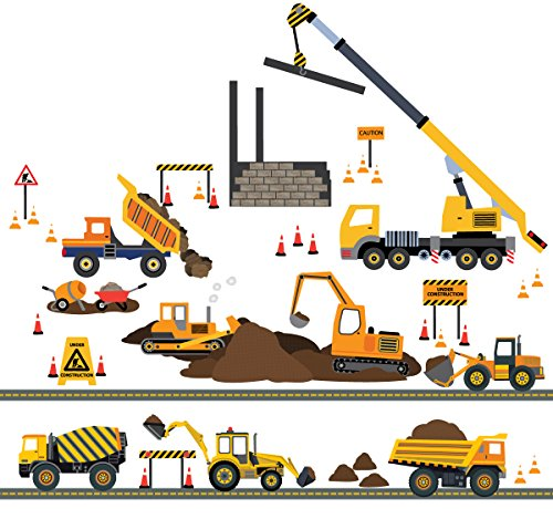 Four Construction Vehicles with 15ft Straight Gray Road and Large Construction Site Fabric Wall Decals