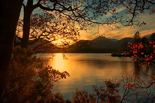 England Sunrises and sunsets Lake Scenery Keswick Branches (No.011067) - Poster Art Print on Canvas 36x24 inch