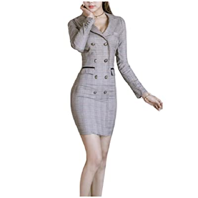 Zimaes-Women Double Breasted Notch Lapel Glen Plaid Pencil Dresses