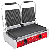 Avantco P84 Double Commercial Panini Sandwich Grill with Grooved Plates - 18 3/16'' x 9 1/16'' Cooking Surface - 120V, 3500W