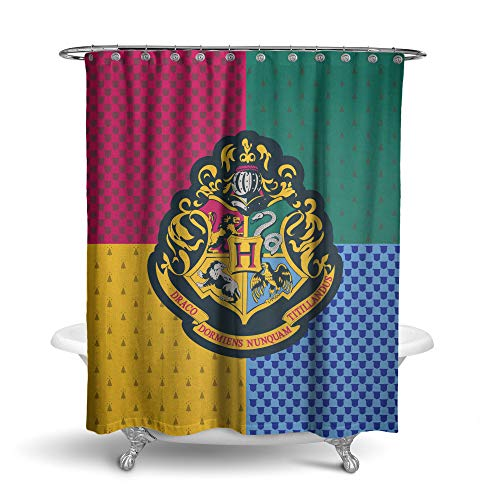 Robe Factory Harry Potter Hogwarts Shower Curtain Houses Bathroom Decor with Hook Rings ()