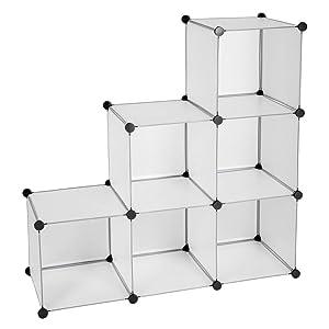 TecTake Estantería de plastico modular armario cuadrados ropero organizador - disponible en diferentes colores - (Blanco | No. 401574)