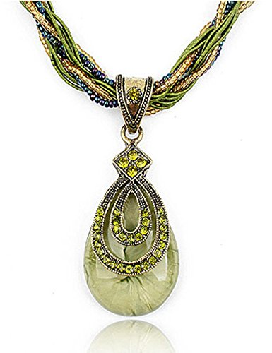 Fashion Women's Bohemia Vintage National Style Cat's Eye Stone Peacock Chain Necklace Pendant(Green) (Plastic Necklace Vintage)