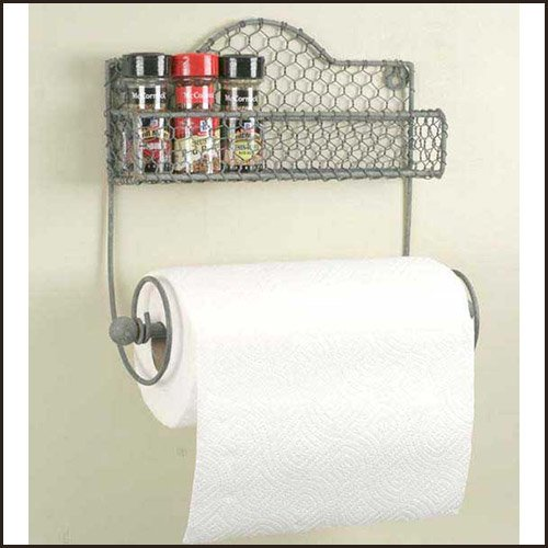 Chicken Wire Kitchen Caddy and Paper Towel Rack