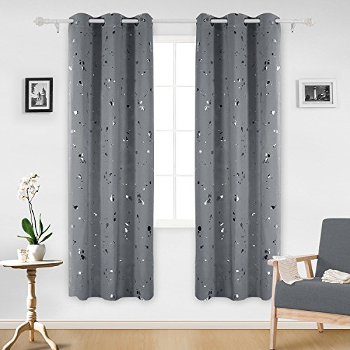 Deconovo Silver Dots Printed Thermal Insulated Blackout Window Curtains Light Blocking Curtains for Kids Room 42 W x 84 L Dark Gray 2 Panels (Dark Gray Curtains)