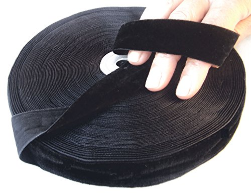 Black Velvet Ribbon by Drency. Huge 25 Yards Roll. 1 Inch Single Face Spool