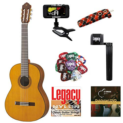 Yamaha CG162 Solid Top Classical Guitar, Natural, with Legacy Accessory Bundle, Many Choices