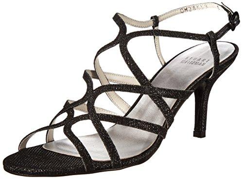 Stuart Weitzman Women's Turningup Dress Sandal, Black, 6 M US