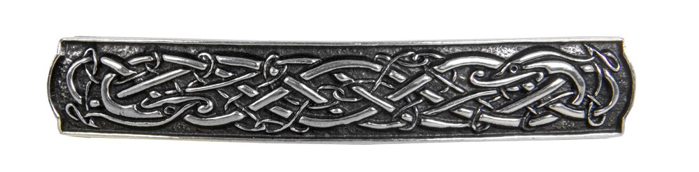 Celtic Bar Hair Clip - Hand Crafted Metal Barrette Made in the USA with imported French Clips By Oberon Design