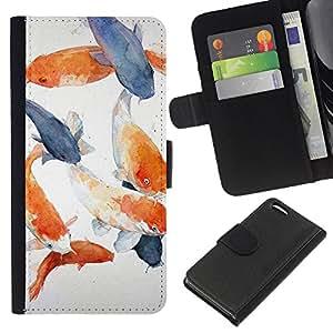 WINCASE Cuadro Funda Voltear Cuero Ranura Tarjetas TPU Carcasas Protectora Cover Case Para Apple Iphone 5C - azul blanco peces gris naranja