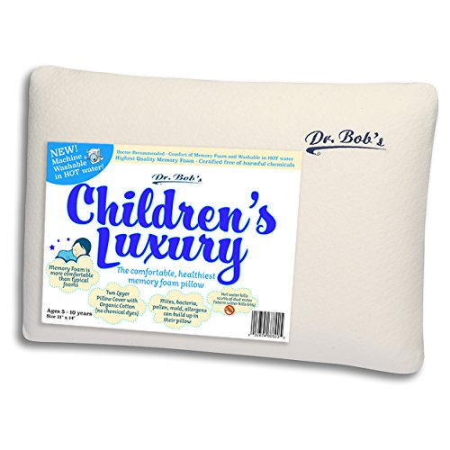 Price comparison product image Children's Luxury - Kids Bed Pillow by Dr. Bob's- New - Memory Foam Machine Washable in HOT Water. Sanitize Your Pillows- Organic Cotton Cover- 2 Sizes -Also Toddler's Luxury Bed Pillow