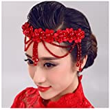 Fashion cat Handmade lace pearl Crystal flowers tire White bride headdress wedding jewelry hair dress accessories (red)
