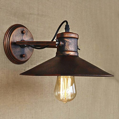 CGJDZMD Wall Lamp Industrial Retro Vintage style Mottled Copper 1 Light Small Indoor Barn Wall Sconce Wall Light Lamp with Cage use E27 Bulb(Not Including Light Bulbs) by CGJDZMD