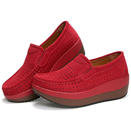 Orlancy Loafers Walking Casual Leather Red2 Platform Up Suede Women's Lightweight Lace wpOZqwA