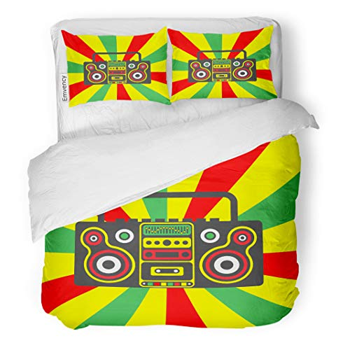 (Semtomn Decor Duvet Cover Set Twin Size Colorful Reggae Rastafarian Boombox on Striped Red Yellow Green 3 Piece Brushed Microfiber Fabric Print Bedding Set)