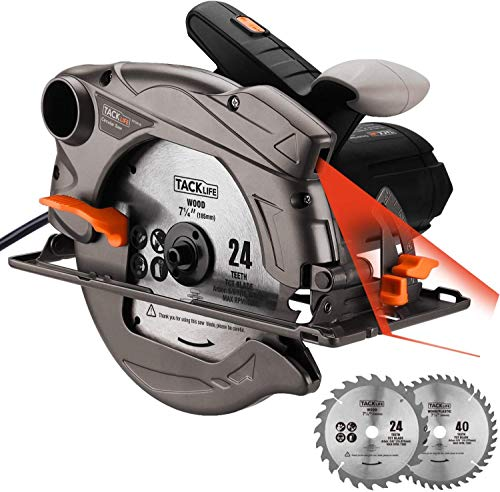 TACKLIFE Circular Saw, Max Cutting Depth 2-1 2 90 , 1-4 5 45 , 24T 40T Blades, Laser Guide, Features a Powerful 1500W, 4700RPM Motor, 10Feet Wire – PES01A
