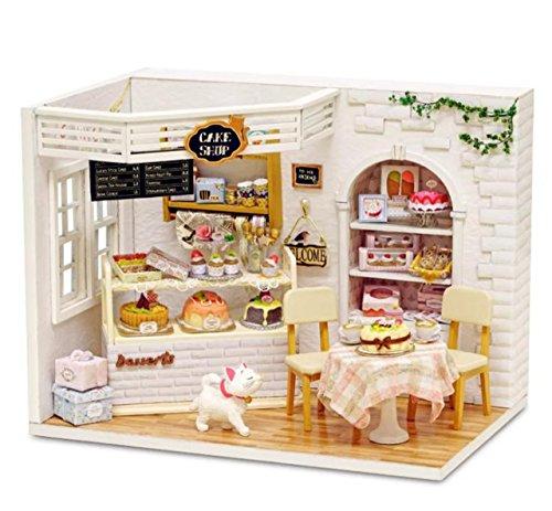 (리틀 스왈로(swallow)) LtSw DIY 미니어쳐 인형 집 케이크 숍 카페 귀여운 방 고양이 조립식 과자 스위트 LED 라이트 선물