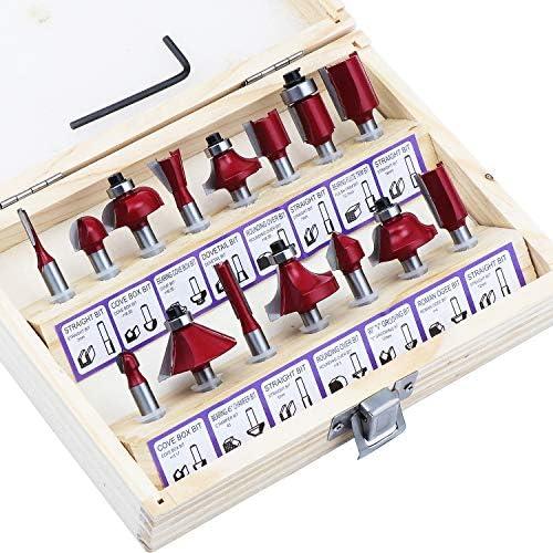 Fraises defonceuse 12.7mm WiMas 15PCS fraises /à d/éfoncer fraises /à rainurer sup/érieures avec caisse en bois